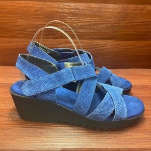 Areosoles wedge strappy sandals royal blue 10M